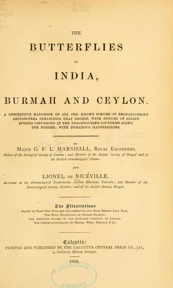 Marshall & Nicéville (1882), The butterflies of India, Burmah and Ceylon. 1